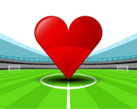Red heart in the midfield of football stadium vector Stock Photography