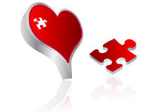 Red heart with missing piece. Valentine's heart with missing piece vector illustration