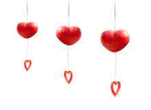 Red heart mobile hanging isolated Stock Photo