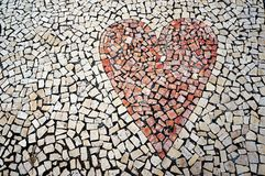 Red heart. Mosaic paving tile. Royalty Free Stock Images