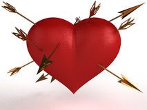 Red heart with multiple gold arrows �1 Royalty Free Stock Photography