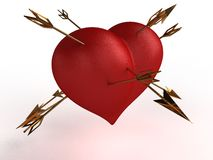Red heart with multiple gold arrows �2 Stock Photo