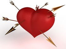 Red heart with multiple gold arrows �3 Stock Photo