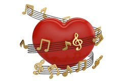 Red heart and music notes.3D illustration. Red heart and music notes. 3D illustration vector illustration