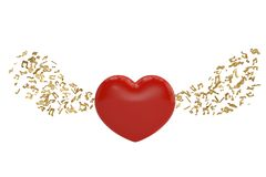 Red heart and music notes.3D illustration. Red heart and music notes. 3D illustration stock illustration