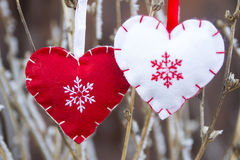 Red heart in nature decoration Royalty Free Stock Images
