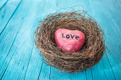 Red heart in nest and turquoise wooden background in country style. Stock Image