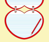 Red heart note pad Royalty Free Stock Images