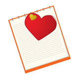 Red heart in a notebook Royalty Free Stock Image