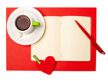 Red heart, notepad and pen, valentines day Royalty Free Stock Image