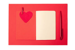 Red heart, notepad and pen, valentines day Stock Photography