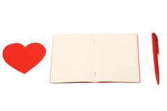Red heart, notepad and pen, valentines day Stock Images