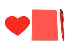 Red heart, notepad and pen, valentines day Royalty Free Stock Images