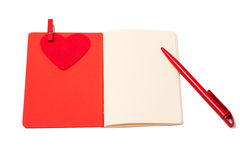 Red heart, notepad and pen, valentines day Stock Photos