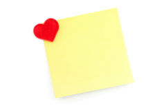 Red heart and notepaper Royalty Free Stock Images