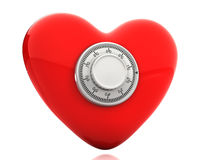 Red heart with a numeric safe lock Stock Photography