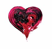 Red heart. Oil and red pigment. Vector. Pait Stock Images