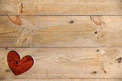 Red Heart On A Wooden Table Stock Photos