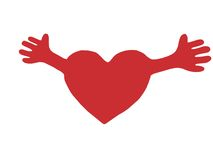 Red heart with open arms Stock Photos