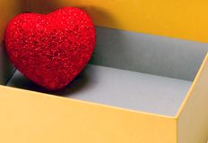 red heart love open gift box stock photo