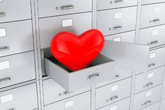 Red Heart in Opened Bank Safe Deposit Box. 3d Rendering. Red Heart in Opened Bank Safe Deposit Box extreme closeup. 3d Rendering Stock Photography