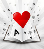 Red heart in opened book with flying alphabet concept Royalty Free Stock Photography
