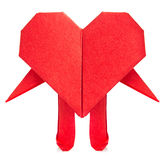 Red heart of origami with arm and leg. Stock Image