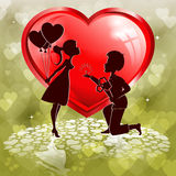 Red heart,outlines of two lovers Stock Image