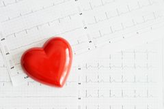 Red heart over ekg or electrocardiogram , medical background royalty free stock photo