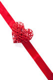 Red heart over ribbon background for Valentines isolated Royalty Free Stock Images