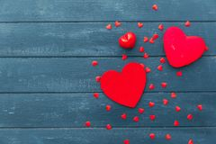 Red heart over wooden background royalty free stock photography