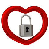Red heart with padlock 3d Royalty Free Stock Image