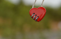 Red heart padlocks. Red heart padlock by code made by metal Stock Image