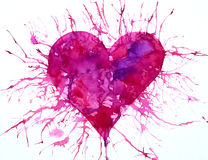 Red heart with paint splashes watercolor painting Royalty Free Stock Photography
