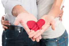 Red Heart Painted On Couple's Hand Stock Images