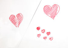 Red heart painted Stock Images