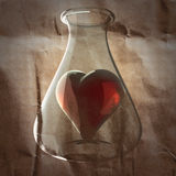 Red heart painted on paper Royalty Free Stock Images