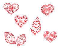 Red heart painted pattern Royalty Free Stock Image