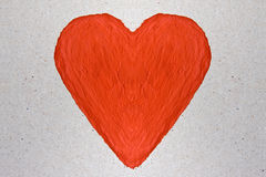 Red heart painted with watercolor Stock Photography