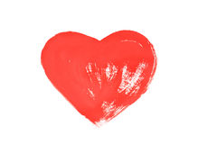 Red heart painted on white paper Stock Photography