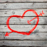 Red heart painted on a wooden surface Royalty Free Stock Photo