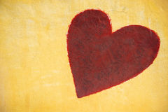 Red heart painting on cement wall background Royalty Free Stock Image