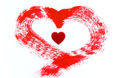 Red heart painting on white background Royalty Free Stock Photo
