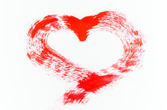 Red heart painting on white background Stock Photos