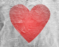 Red heart on paper Stock Images