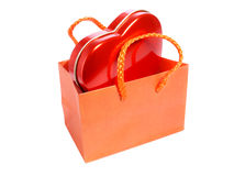 Red heart in paper bag Royalty Free Stock Photos