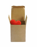Red Heart in paper box isolate on white background (with clipping path) Royalty Free Stock Images