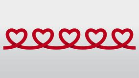 Red heart paper chain cutout vector background. Red heart paper chain cutout vector icon background royalty free illustration