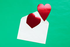 Red heart in paper envelope Stock Photos