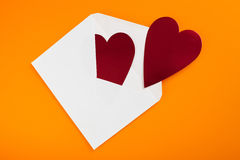 Red heart in paper envelope Royalty Free Stock Image